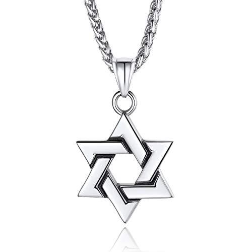 ChainsPro Hexagrama Estrella de David Colgantes Religiosos Plateados de Judío Israel con Cadena...