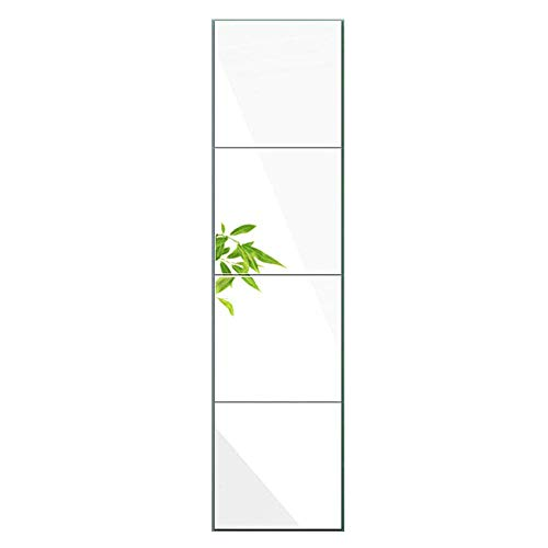 Huimei2Y Full Length Mirror Tiles, 14 Inch x 4 Pieces Frameless Wall Mirror for Vanity Bedroom, Square