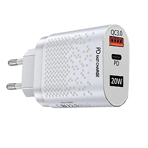 QC3.0 Cargador rápido 20W Adaptador de Corriente USB C PD Enchufe de Pared Cargador con los Puertos duales del teléfono móvil Cargadores Blanca