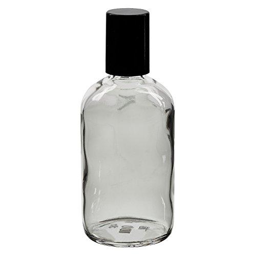 100x Glas Deostick mit klarer 100 mll Flasche, leerer Deo Roller - inkl. schwarzem Roll On Verschluss
