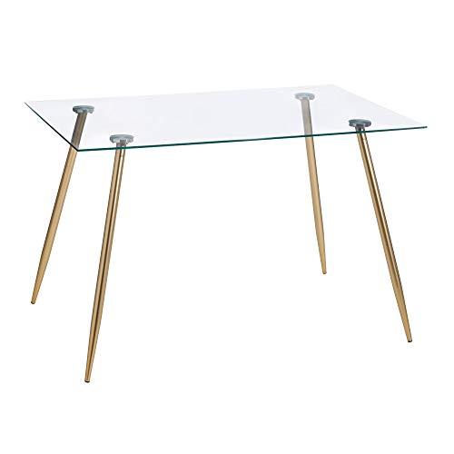 Mesa de Comedor Rectangular de Cristal y Metal, Vintage, en Dorado, de Ø 120x80x75 cm - LOLAhome