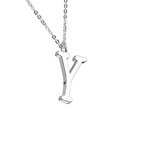 beyoutifulthings, collana da donna, con ciondolo con lettera dell'alfabeto, in acciaio inox, colore argento o oro rosa e Acciaio inossidabile, colore: argento, cod. SNP-05S-ZY