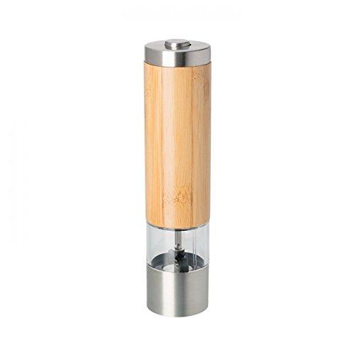 Pfeffermühle oder Salzmühle elektrisch Bambus Edelstahl Keramikmahlwerk Gewürzmühle eingebaute LED
