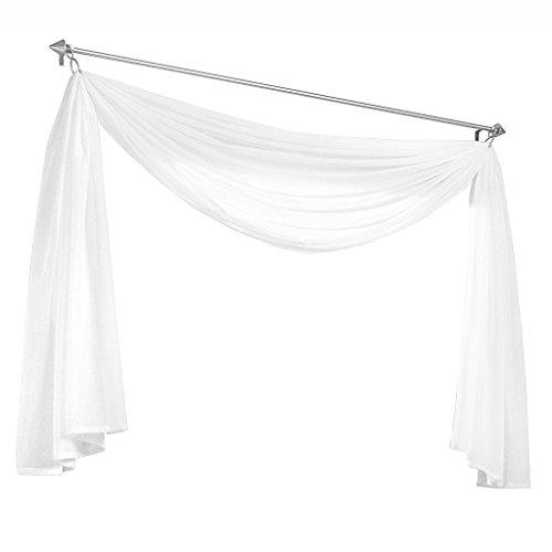 Olivia's Stylism Boutique Querbehang Deko Gardinen aus transparentem Voile Schals H*B 500 * 145cm Weiß