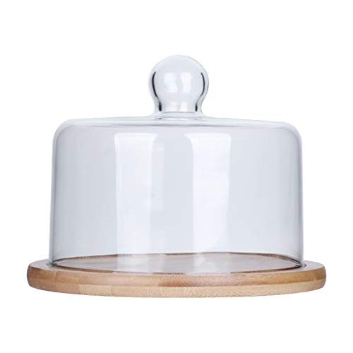 SZQ-Kuchenstand Nachmittagstee Teller, Glas Dome Cake Dome Ice Cream Dome Transparent Home Dome Holzplatte Multifunktions Dome Käseplattenabdeckungen (Size : 21CM)