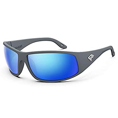 TOREGE Polarized Fishing Sunglasses for Men and Women Driving Running Golf Sports Sunglasses TR28 (Matte Grey Frame & Ice Blue Lens)