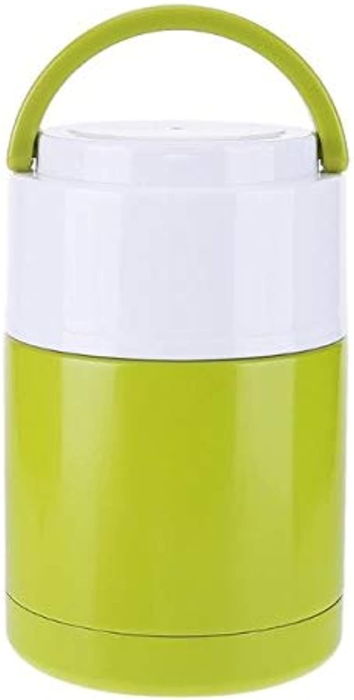 Farmerly Stainless Steel Food Smoldering Pot Home Vacuum Insulation Bottle Vacuum Insulation Pot Insulation Soup Pot Porridge Food Box   Green