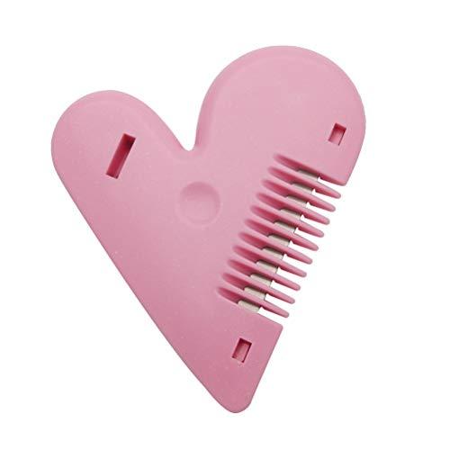 Lurrose Tijeras de corte de pelo en forma de corazón de peine adelgazante de doble cara recortadora de plástico para cabello (rosa)