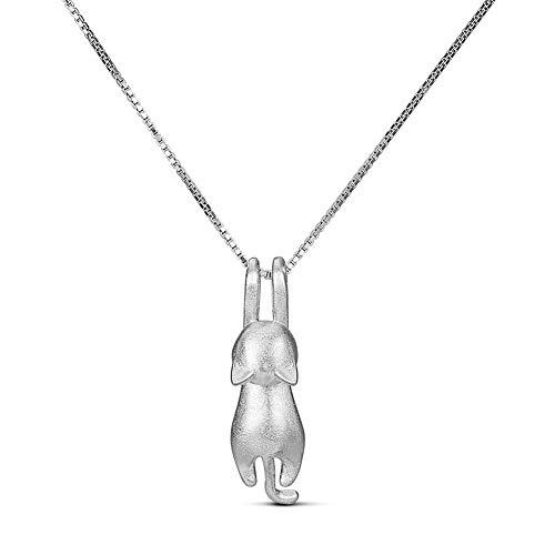 SHEGRACE Frauen Katze Anhänger Halskette aus 925er Sterling Silber Animal Love Fashion Elegantes Geschenk für Mädchen