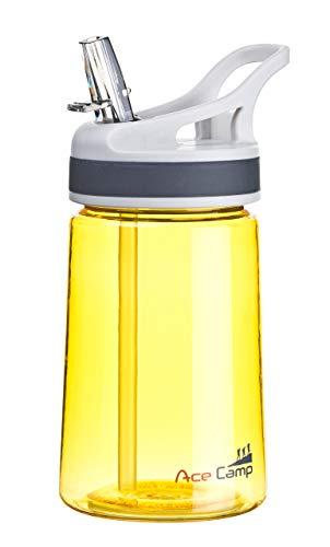 AceCamp TRITAN Botella de Agua | Botella de Agua a Prueba de Fugas sin BPA | Botella Deportiva Pajita I 350 ml I Amarillo I 15512