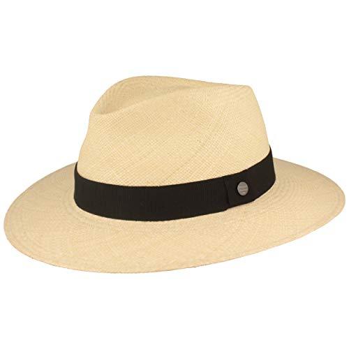 ORIGINAL Panama-Hut   Stroh-Hut   Sommer-Hut aus Ecuador - mit Lederband - Handgeflochten, UV-Schutz, Bruchschutz (L (58-59), Natur (Ripsband))