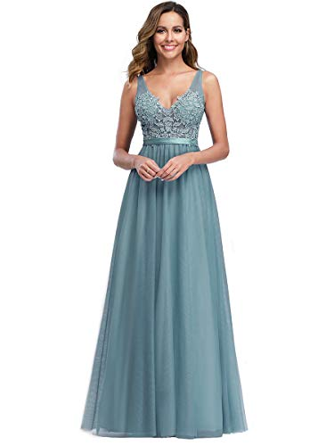 Ever-Pretty A-línea Apliques Vestido de Noche Tul Cuello en V Largo para Mujer Cielo Azul Oscuro 36