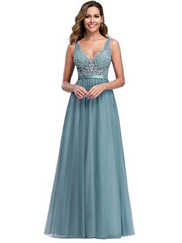 Ever-Pretty Damen Abendkleid A-Linie Hohe Taille Stickerei tüll V Ausschnitt lang Dunkles Himmelblau 36