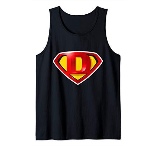 Super D Hero Alphabet Cute Initial Monogram Letter D Logo Camiseta sin Mangas