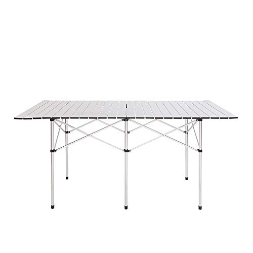 Small Folding Portable Aluminum Camping Table, Roll-Top Lightweight Craft Table with Carrying Bag,Easy Setup for Indoor, Outdoor, Picnic, Party Camping (55.12' x 27.56' x 27.56')