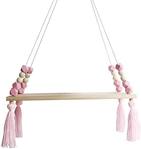 Estante para colgar en la pared nórdica, cuerda flotante con cuerda de cuerda decorativa para el hogar (rosa)