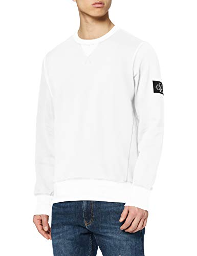 Calvin Klein Jeans Monogram Sleeve Badge CN Maglia di Tuta, Bright White, S Uomo