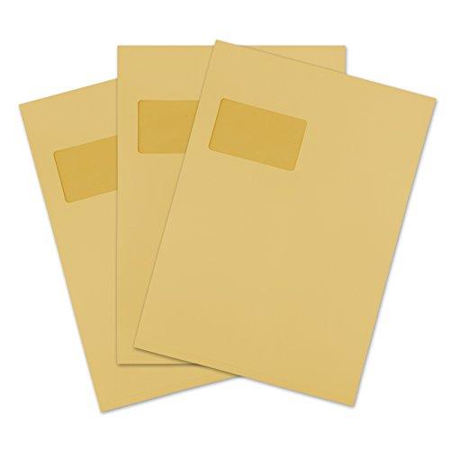 versando 100 Faltentaschen Versandtaschen DIN C4 (229 x 324 mm) braun 2cm Falte mit Fenster