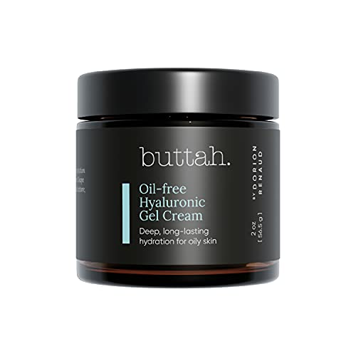 Buttah Skin by Dorian Renaud Oil-Free Hyaluronic Gel Cream 2oz - Daily Moisturizer - Hyaluronic Acid for Deep Hydration - AM & PM Moisturizer - Naturally Based Skin Care - Black-Owned Skincare