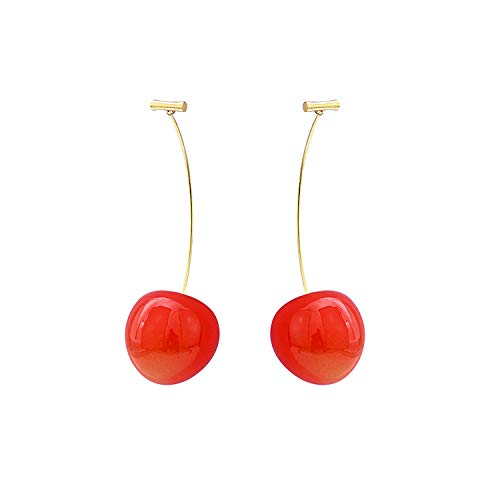 VEVIK Orecchini a goccia a forma di ciliegia rossa, 3D, con frutta, per donne e ragazze e lega di zinco, colore: Kirschrot, cod. Kirsche Ohrringe - Kirschrot