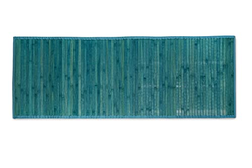 CosìCasa Tappeto Cucina Bamboo Antiscivolo [50X230] | Passatoia Cucina Legno di Bambù Blu Tinta Unita | Tappeto Runner Lungo Colorato [50X230, Blu]