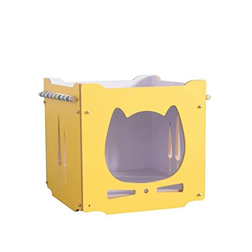 Siqi casa de Madera para Gatos, escondite para Conejos con Hamaca, apilable, Plegable, Cubo para Gatos, habitación, Empalme, combinación de Escalada de Conejito y Gato-L