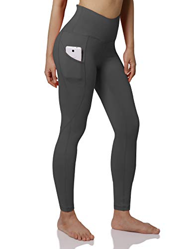 ODODOS Women's Out Pockets High Waisted Yoga Leggings, Workout Sports Running Athletic Leggings, Full-Length, Gray,Medium