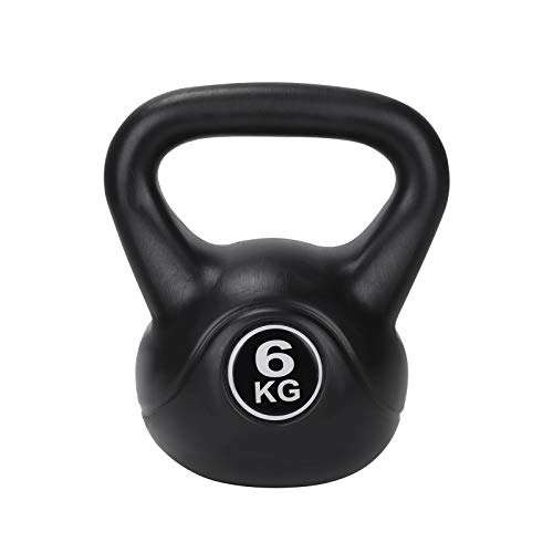 Trintion Kettlebell Black Vinyl Kettlebell for Strength Home Gym Fitness and Bodybuilding Training (6KG)