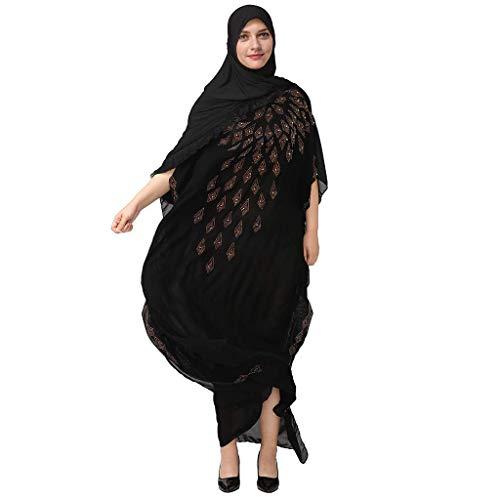 CixNy Muslimische Vintage Langarm Kleid Frauen Kleider Boutique Drucken Tunika Abaya Dubai Damen Casual Abendkleid Hochzeit Kaftan Robe Muslim Lang...
