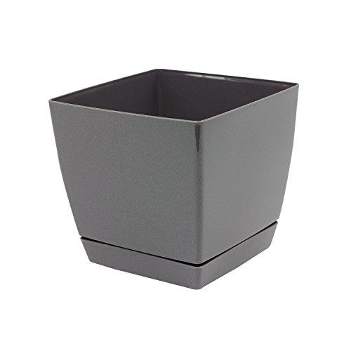 Pot de fleur glossy graphite carré 15 cm plastique Coubi,soucoupe amovilbe