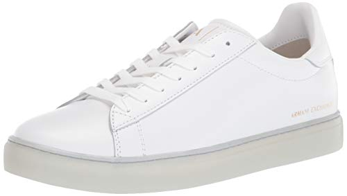 A|X Armani Exchange Herren Low Rise Leather Lace Up Sneaker Turnschuh, Optical White, 47 EU