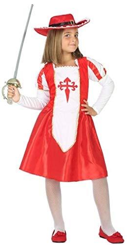 Costume da moschettiere medievale rosso per bambine, per la Giornata del Libro Mondiale, 3-12 anni (3-4 anni)
