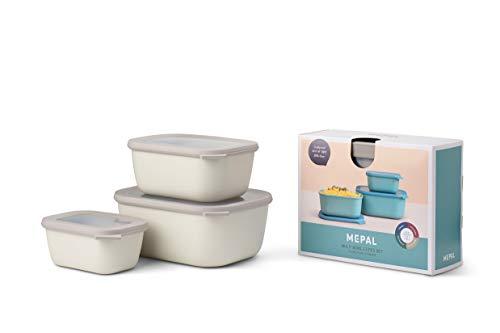 Mepal Cirqula 3 rectangulares (750 + 1500 + 3000 ml) White – Juego de Cuencos – Fiambreras – apilables – Apto para lavavajillas, Polipropileno, Color Blanco nórdico, Alto