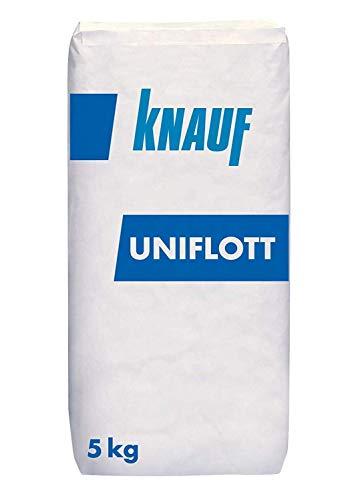 Knauf Uniflott Gipsspachtel-Masse zum Verspachteln von Gipsplatten mit HRK bzw. HRAK ohne Fugen-Deckstreifen, 5 kg – Spezial-Gips, Spachtel-Masse hochfest und schrumpfarm für Wand und Decke
