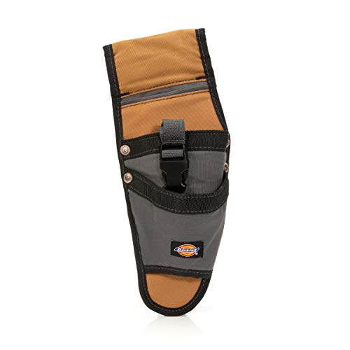 Dickies Drill Holster with Buckle Security Strap, Durable Canvas, Additional Pockets for Fastener Storage, Tunnel Loop for 2-Inch Work Belts, Grey/Tan