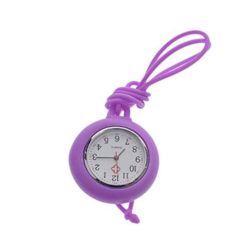 NICERIO Enfermera Reloj de Bolsillo Reloj Médico Silicona Enfermera Reloj Colgante de Bolsillo Color Sólido Enfermera Reloj Redondo - Color Aleatorio de Cuerda