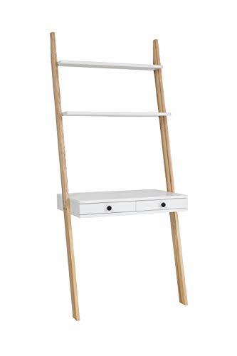 Ragaba Leno Leitertisch Schreibtisch Leiterregal - Zwei Schubladen FSC® Holz - Einfache Montage - Breit 79 cm