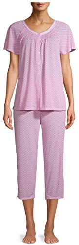 Geo Print Arctic White & Pink V-Neck Top & Capri Pajama Sleep Set - Medium