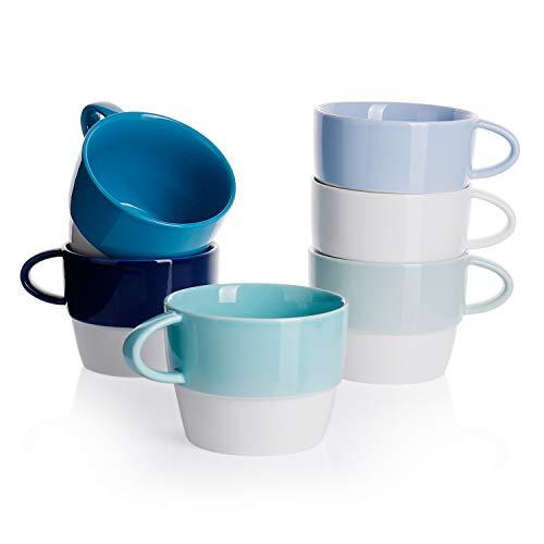 Sweese 407.003 6er Set Kaffeebecher aus Porzellan, 320 ml, Stapelbare Tasse für Heißgetränke, Blaue Serie