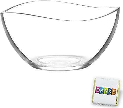 Geschwungene Salatschüssel aus Glas, stilvolle Glasschale cooles Effekt-Design, stylische Dekoschale, Ø 20cm, Party Knabberschale, lebensmittelechte Glasschüssel, transparente Glas Bowle (Vira)