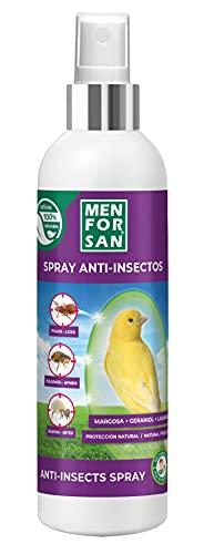 MENFORSAN Spray Anti-Insectos con Margosa, Geraniol y Lavandino para Aves, Protege a tu pájaro de Cualquier Insecto, 250ml