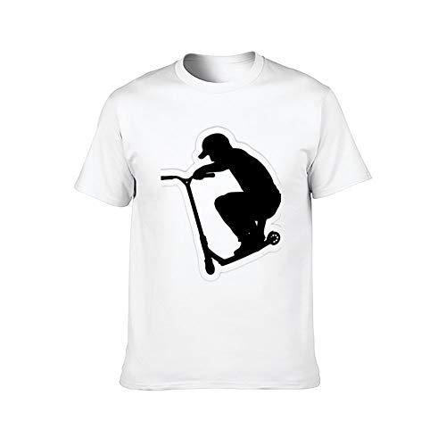 DKISEE Stunt Scooter Silhouette - Camiseta de manga corta para hombre ComfortSoft, color blanco