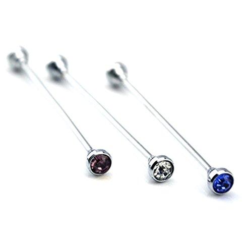 Vococal 3 Stk Herren Runder Kopf Stil Shirt Collar Clip Bar PIN Brosche mit Strass, Blau + Lila + Weiß