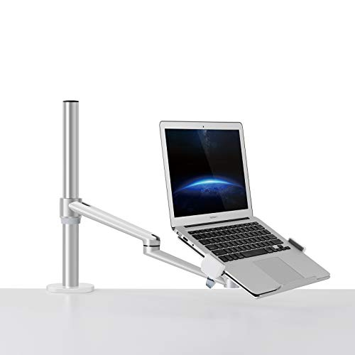 Thingy Club Single Arm Laptop Mount, Desk Mount Stand for 12-17 inch Laptop, Height Adjustable, Swivel at Any Angle (Single Arm Silver)
