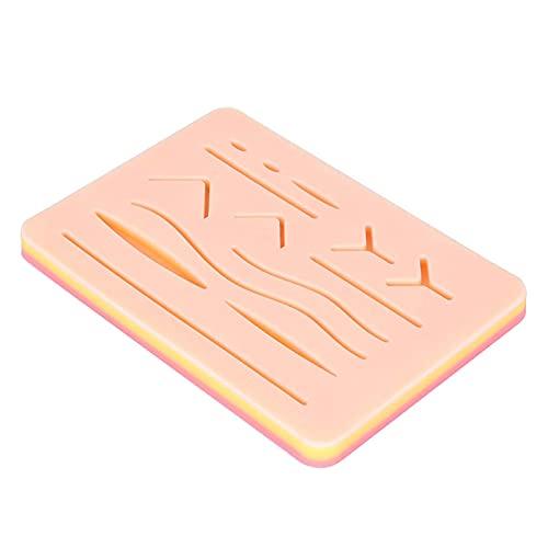 STZJBD Kit de práctica de sutura, Almohadilla de sutura de Silicona Reutilizable, Almohadilla de sutura Duradera de 5 x 7 inyector de Piel de Pistola traumática para Entrenamiento y práctica