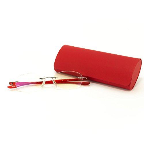 MIDI-ミディ レディース ふちなし老眼鏡 ブルーライトカット 紫外線カットレンズ エレガントなメガネケースセット (レッド&レッド,レンズ度数+2.00)