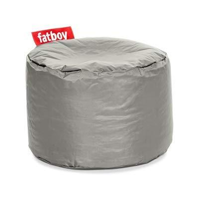 Fatboy® Point Hocker Nylon Silver | Runder Sitzhocker in Silber | Trendiger Poef/Fußbank/Beistelltisch | 35 x ø 50 cm
