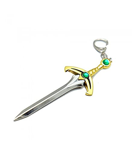 pidak shop Llavero abrecartas espada dorada con piedra verde esmeralda 13 cm