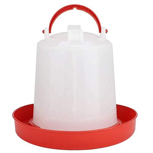 XYDZ Futterspender für Geflügel, Voliere Huhner Kunststoff-Trinker für Geflügel mit Griff Futter- und Wasserwerkzeug für Hühner Wachteln Bantam 2 kg - Weiß + Rot