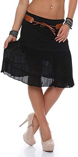 Malito Mujer Verano Falda con cinturón Tramo Midi Mini A-línea 8220